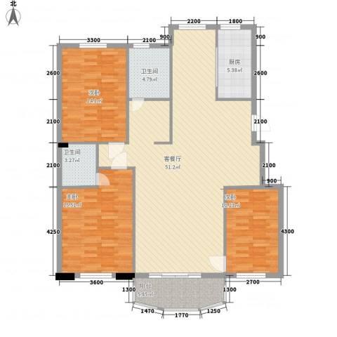 金湾新城四期3室1厅2卫1厨121.15㎡户型图