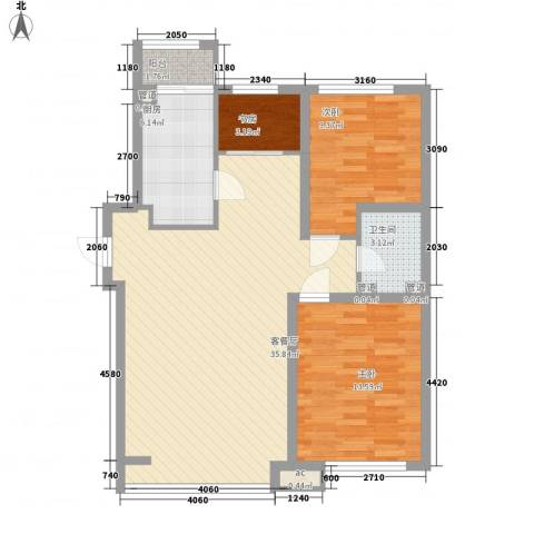 泰山一村3室1厅1卫1厨105.00㎡户型图