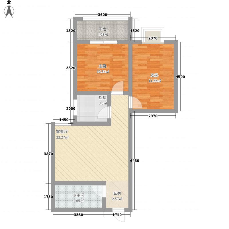 朱雀MEN79.87㎡F户型2室1厅1卫1厨