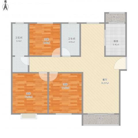 天域3室1厅2卫1厨116.00㎡户型图