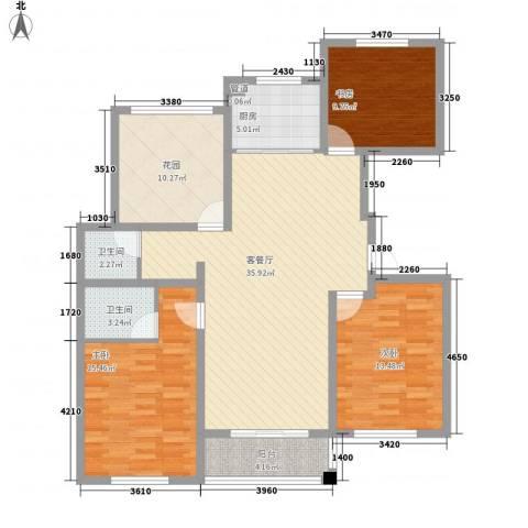 华夏名都3室1厅2卫1厨142.00㎡户型图