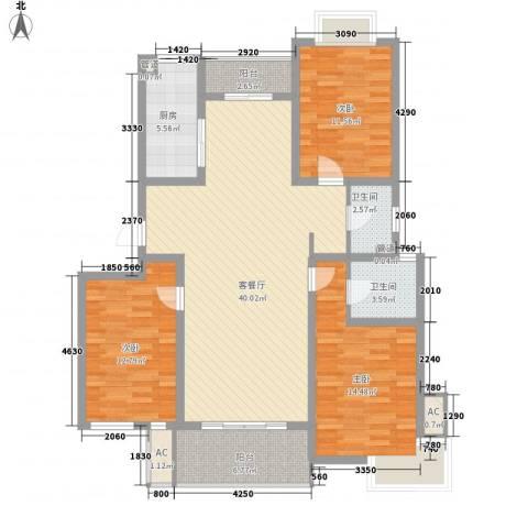 中锐山水映象3室1厅2卫1厨147.00㎡户型图