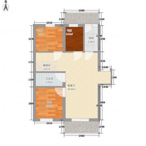 宏晟时代广场3室1厅1卫1厨52.00㎡户型图