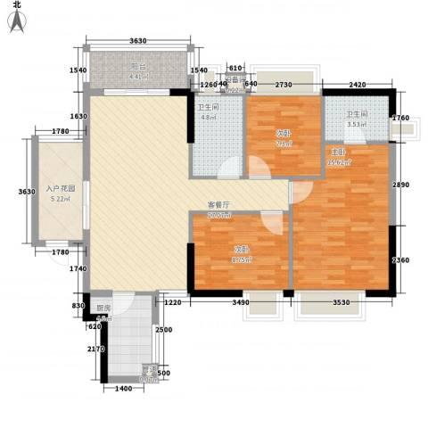 二城心作3室1厅2卫1厨81.61㎡户型图