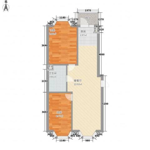 宏晟时代广场2室1厅1卫0厨54.00㎡户型图