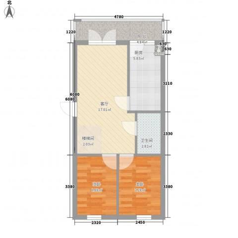 宏晟时代广场2室1厅1卫1厨64.00㎡户型图