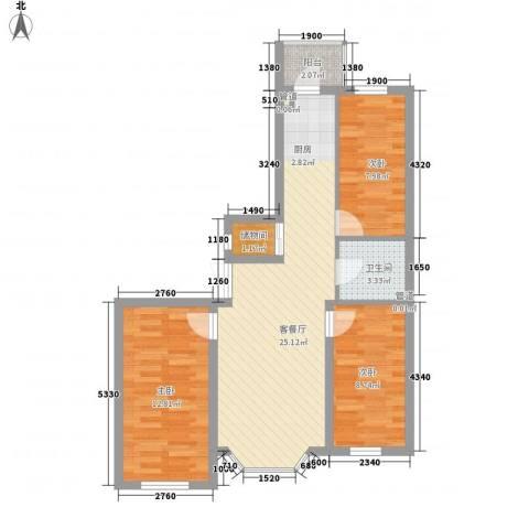 林海华庭3室1厅1卫0厨88.00㎡户型图