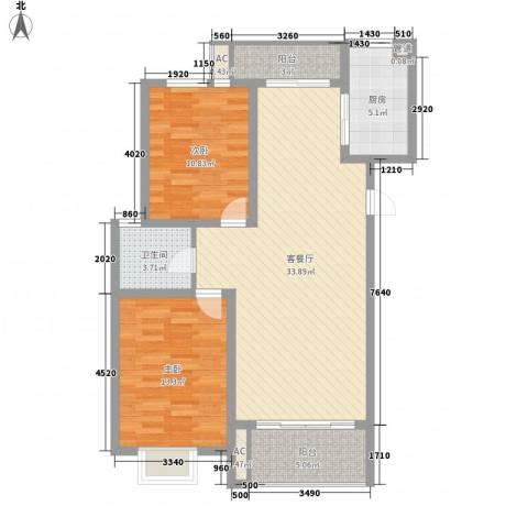 中锐山水映象2室1厅1卫1厨109.00㎡户型图