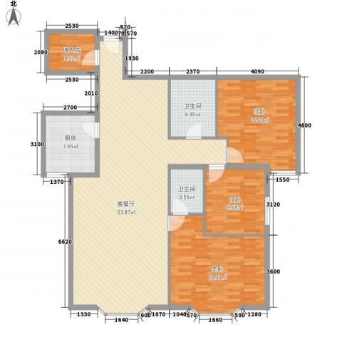 远东公寓3室1厅2卫1厨164.00㎡户型图