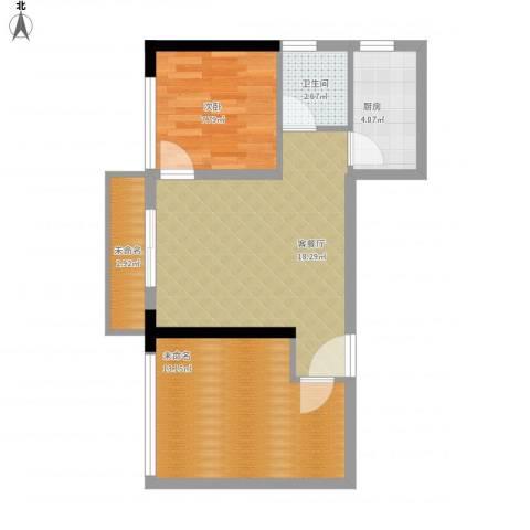 长帆江岸公馆1室1厅1卫1厨70.00㎡户型图