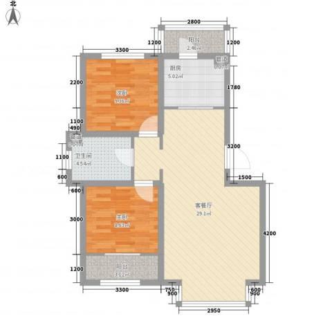 阳光嘉城二期2室1厅1卫1厨62.37㎡户型图