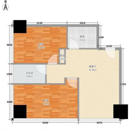 新街口苏宁生活广场1厅1卫1厨86.40㎡户型图