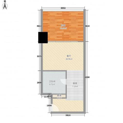 新街口苏宁生活广场1厅1卫0厨56.00㎡户型图