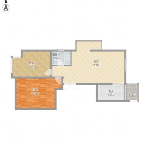 建邦华庭2室1厅1卫1厨106.00㎡户型图