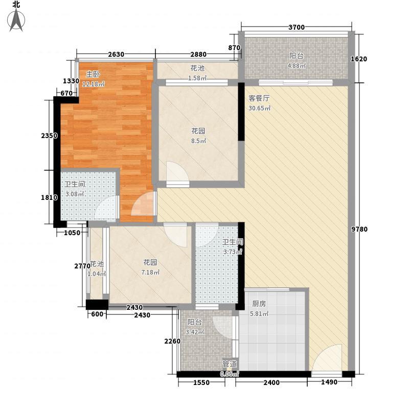 水岸香洲户型图一房两厅两卫户型图 1室2厅2卫1厨