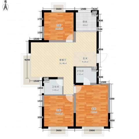 旺园小区3室1厅2卫1厨118.00㎡户型图