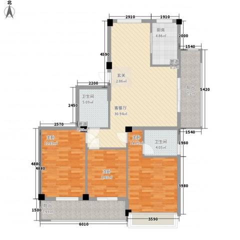 城市空间3室1厅2卫1厨138.00㎡户型图