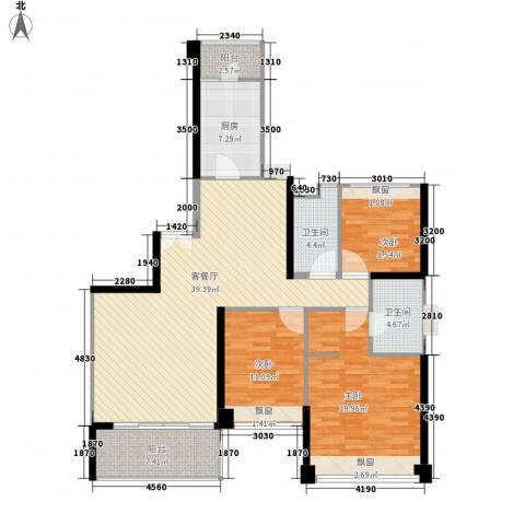 汇峰国际公寓3室1厅2卫1厨147.00㎡户型图