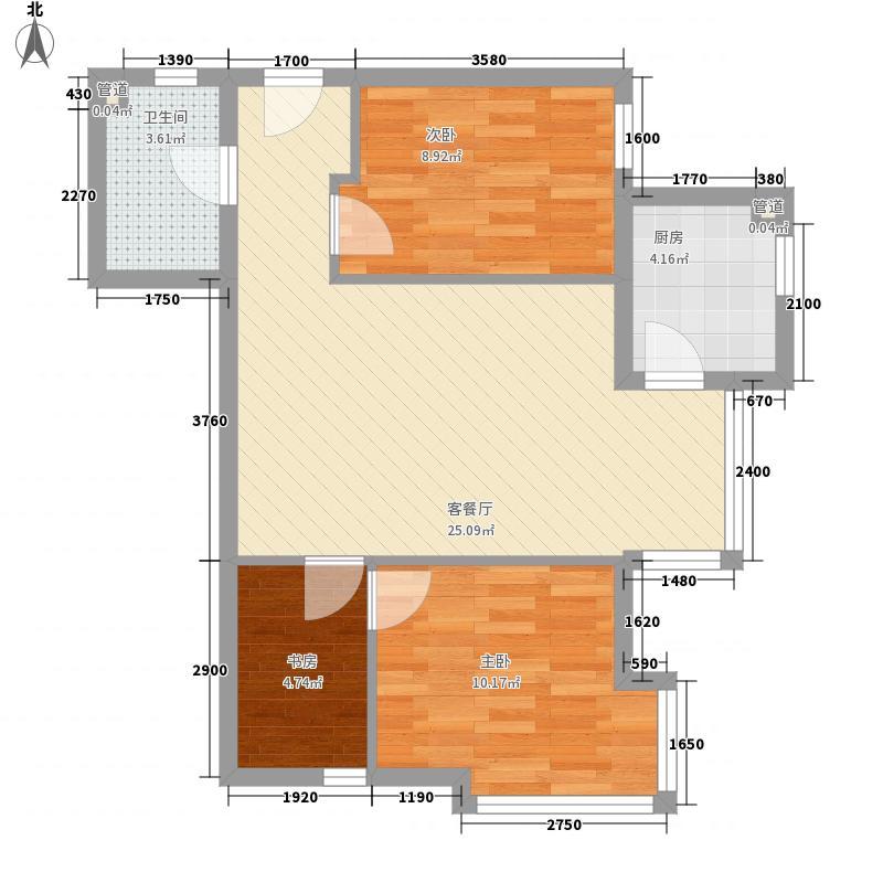雅特住区83.03㎡户型2室2厅1卫1厨