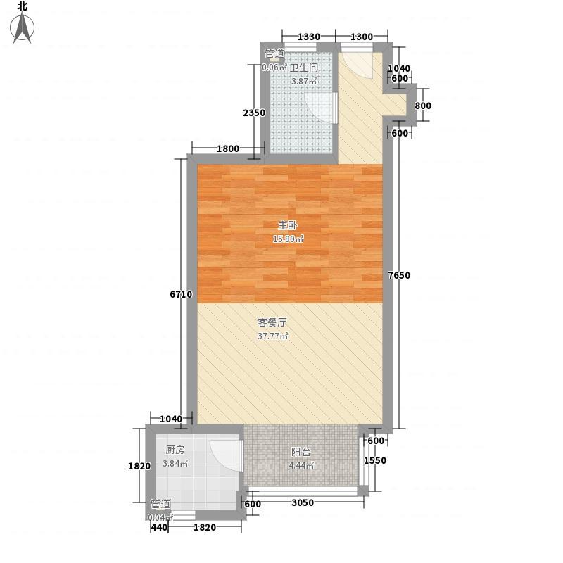 雅特住区63.48㎡户型1室1厅1卫1厨