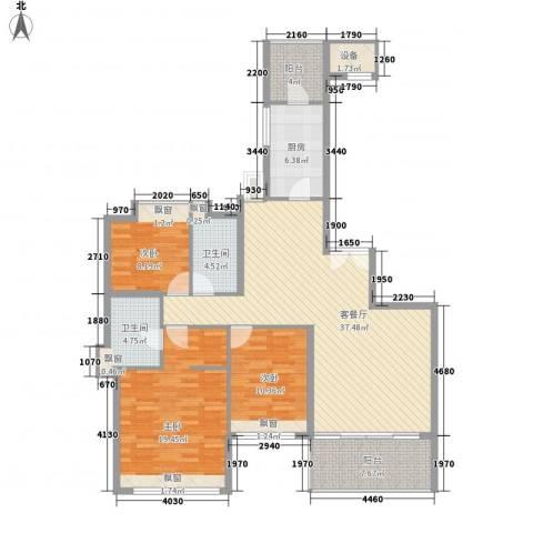 汇峰国际公寓3室1厅2卫1厨148.00㎡户型图