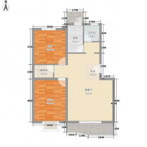 时代庭园2室1厅1卫1厨106.00㎡户型图