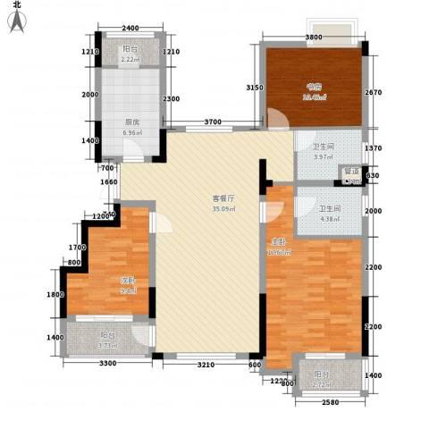 紫玉山庄3室1厅2卫1厨120.00㎡户型图