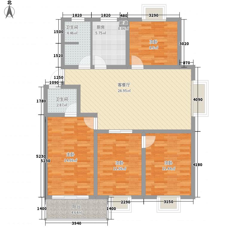 米兰城市花园130.50㎡D户型4室2厅2卫
