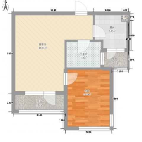 融通大厦1室1厅1卫1厨60.00㎡户型图