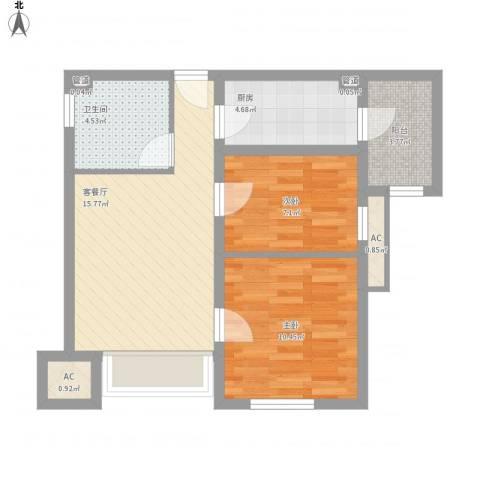 新梅江雅境新枫尚2室1厅1卫1厨71.00㎡户型图