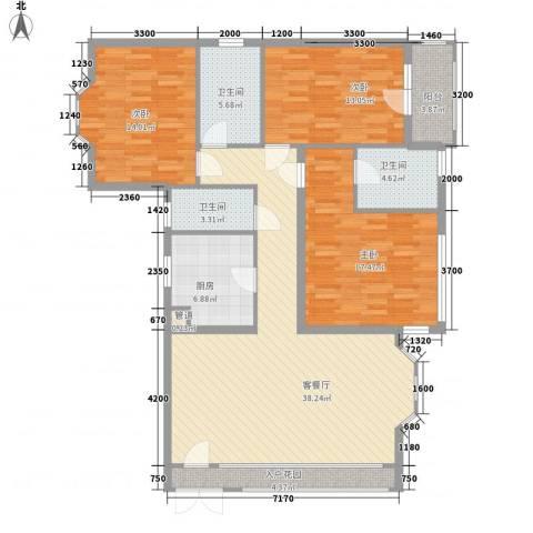 盛世华庭3室1厅3卫1厨143.00㎡户型图