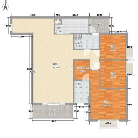 南湖花园3室1厅2卫1厨158.00㎡户型图