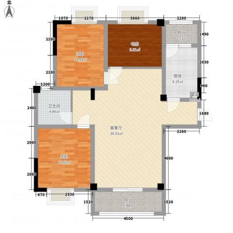 金秋花园3室1厅1卫1厨128.00㎡户型图