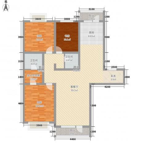 地王白金国际公寓3室1厅2卫0厨165.00㎡户型图
