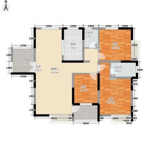 兰亭坊3室1厅2卫1厨152.00㎡户型图