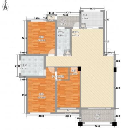 文锦新城3室1厅2卫1厨135.00㎡户型图