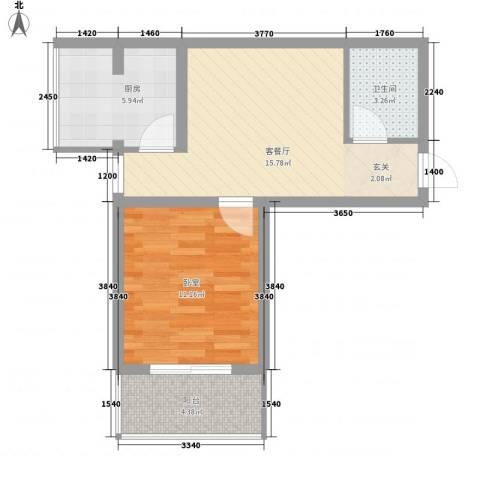 东润国际新城1厅1卫1厨59.00㎡户型图