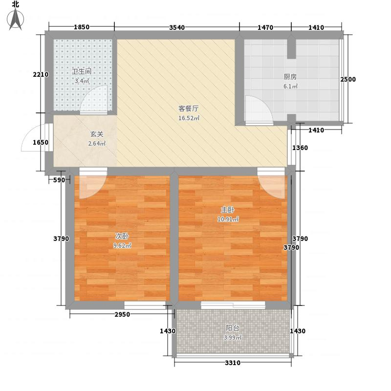 东润国际新城73.20㎡东润国际新城户型图26号楼1-022室2厅1卫1厨户型2室2厅1卫1厨
