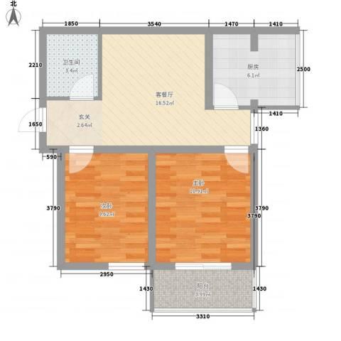 东润国际新城2室1厅1卫1厨73.00㎡户型图