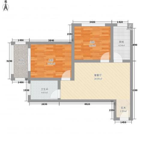 东润国际新城2室1厅1卫1厨77.00㎡户型图