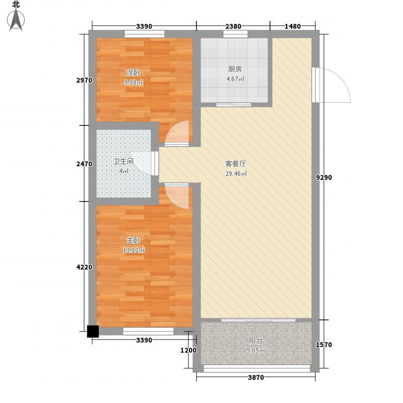 海情御园3.60㎡B1户型2室2厅1卫1厨