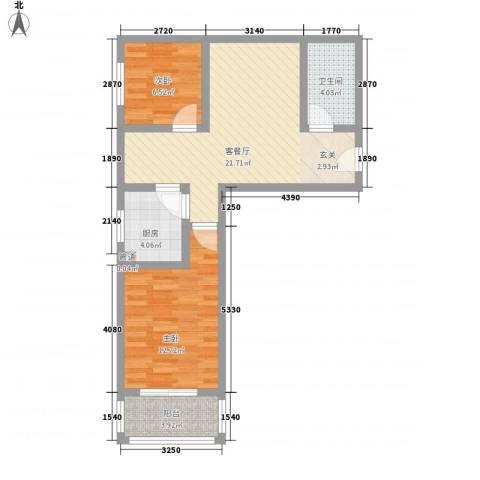 东润国际新城2室1厅1卫1厨78.00㎡户型图