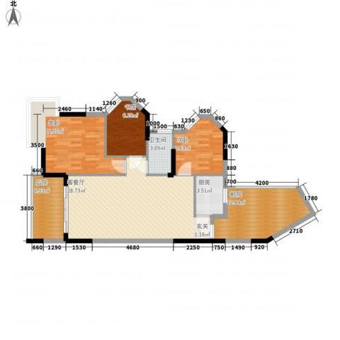 江南名居南区锦苑3室1厅1卫1厨96.00㎡户型图