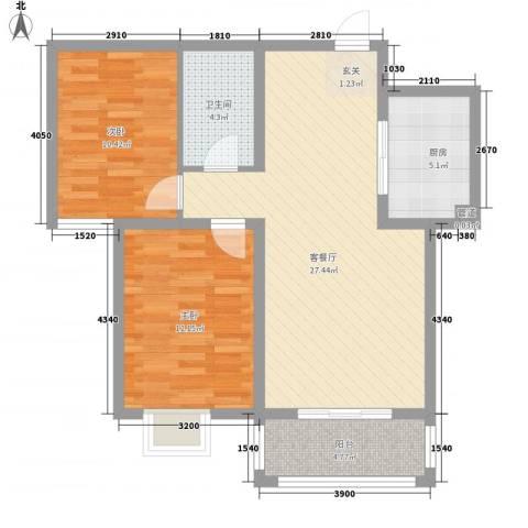 东润国际新城2室1厅1卫1厨92.00㎡户型图