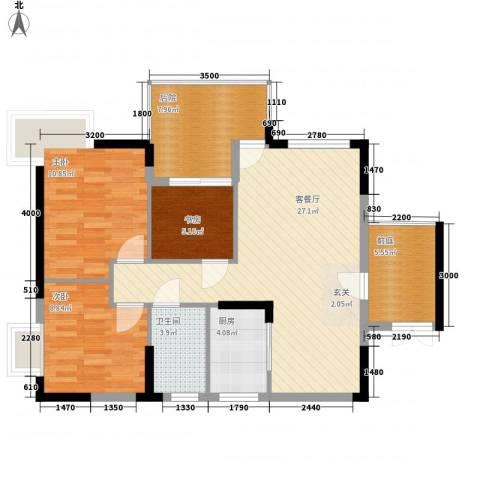 江南名居南区锦苑3室1厅1卫1厨91.00㎡户型图