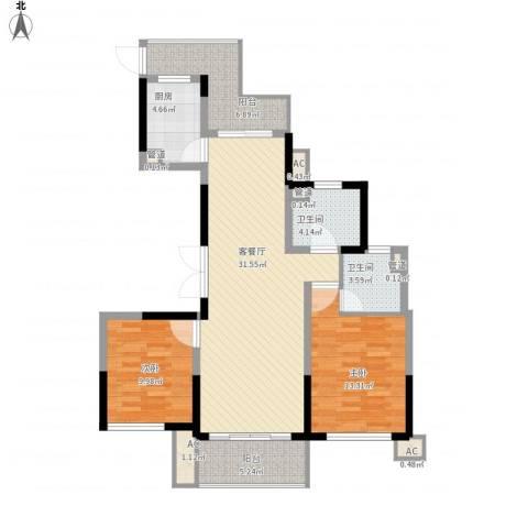 杰仕豪庭2室1厅2卫1厨119.00㎡户型图