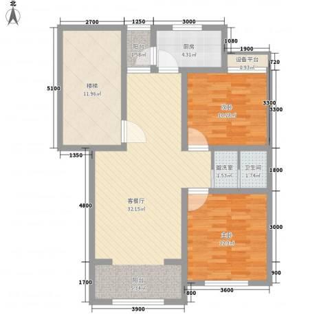 艾博龙园2室1厅1卫1厨83.00㎡户型图