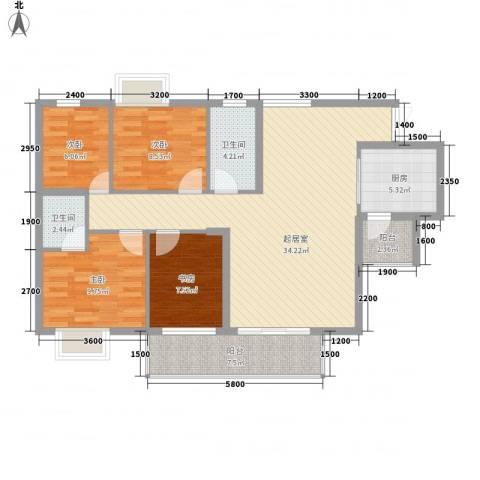京仕柏豪庭4室0厅2卫1厨121.00㎡户型图