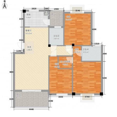 海富康城3室1厅2卫1厨113.19㎡户型图