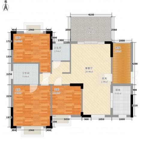 江南名居南区锦苑3室1厅2卫1厨119.00㎡户型图